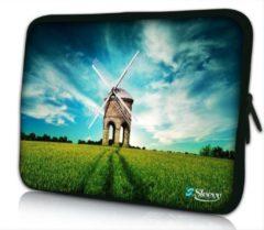 Blauwe Sleevy 14 laptophoes molen - laptop sleeve - laptopcover - Collectie 250+ designs