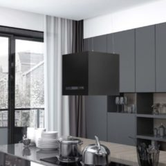 Zwarte VidaXL Afzuigkap hangend met aanraaksensor LCD 37 cm staal