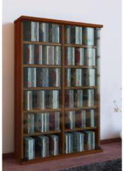 Regal DVD CD Rack Medienregal Medienschrank Aufbewahrung Holzregal Standregal Möbel Bluray Möbel VCM Kern-Nussbaum
