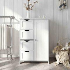 VASAGLE dressoir badkamerkast, badkamermeubel gemaakt van hout, zijkast, ladekast met 4 lades, kastdeur, verstelbare plank, woonkamer, keuken, gang, diep, vrijstaand, wit LHC41W