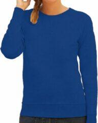 Fruit of the Loom Blauwe sweater / sweatshirt trui met raglan mouwen en ronde hals voor dames - blauw - basic sweaters XS (34)