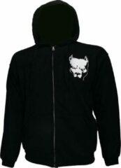 Hardcore Pitbull Logo Hoodie Vest met Rits en Capuchon Zwart Wit