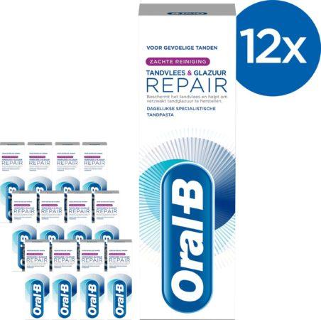 Afbeelding van Oral-B Tandvlees & Glazuur Repair Zachte Reiniging - Voordeelverpakking 12x75 ml - Tandpasta