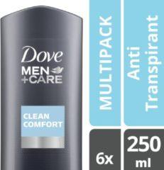 Dove Men+Care Dove Men + Care Clean Comfort - 250 ml - Douche Gel - 6 stuks - Voordeelverpakking
