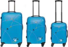 Packenger Kofferset Packenger Fly and Help 3er Koffer-Set Trolley-Set Hartschale (M, L & XL) / 4 Doppel Rollen Koffer mit TSA Zahlenschloss / stabiler