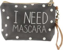 Melady   Toilettas 18*13*5 cm zwart   Zwart   Kunststof   Rechthoekig   I need mascara   MLTT0025S