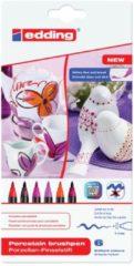 Rode Edding Porseleinstiften - 6 warme kleuren porseleinstiften - Flexibele, penseelvormige punt