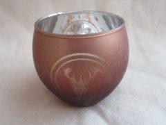 ZoeZo Design Waxinelichthouder in bruin-koperkleurig glas met rendier. 7,5 x 7,5 cm Ø
