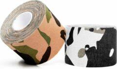 #DoYourFitness - 12x Camouflage Kinesiologie Tape - Sporttape - 100% geweven katoen / waterbestendig - rollengte 5m, breedte 7,5cm - Arctic