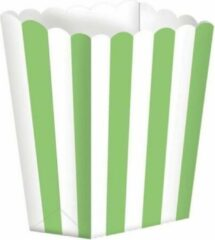 Groene Merkloos / Sans marque Popcorn bakjes lime 10 stuks - Popcornbakjes/chipsbakjes/snackbakjes kinderverjaardag/kinderfeestje.
