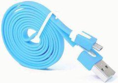 Qatrixx Micro USB Kabel Datacable 1 meter Universeel Light Blue Licht Blauw