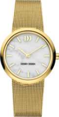 Gouden Danish Design watches edelstalen dameshorloge Rome Gold White Marble IV05Q1211