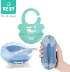 Reer Baby Servies Starterspakket| Baby Bordje / Kom Blauw| Baby Bestekset Blauw | Baby slabbetje Groen | All-in-one Pakket
