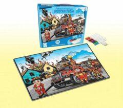 FDBW Kinderpuzzel - Brandweer | Legpuzzel 24 stukjes | Puzzel Kleuren - Brandweer| Kleurpuzzels voor Volwassenen - Kinderen | Puzzel Kleurplaat – 24 stukjes – 65x90 cm