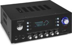 Zwarte Versterker audio - Fenton AV120FM-BT 120W stereo versterker met Bluetooth, USB mp3 speler & radio - Ook geschikt voor karaoke!