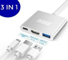 Zilveren USB C Hub 3 in 1 | van USB-C naar HDMI, USB 3.0 & USB-C van ZEDAR®