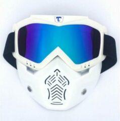 Tecqx Motor Masker – Ski Bril – Scooter – Helm - Anti-UV – Snowboardbril – Multifunctioneel – Wit – Blauw