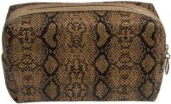 Grijze Merkloos / Sans marque Toilettas/make-up tas slangen print bruin 18 cm voor dames - Reis toilettassen/make-up etui - Handbagage