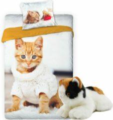 Faro Dekbedovertrek Kitten - eenpersoons dekbed 140x200 - Poes met trui - incl. Katten pluche knuffel - speelgoed 22cm
