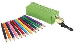 Merkloos / Sans marque Groene mini etui met 12 verschillend kleurpotloden- Hobby/knutselspullen - Speelgoed uitdeel cadeau