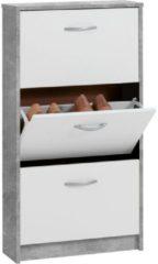 FMD Schoenenkast met 3 kantelende vakken wit en betongrijs