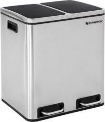 SONGMICS 30L Afvalemmer afvalscheiding Afvalscheidingssystemen met 2 binnenbakken Pedaalemmer voor keuken Roestvrij staal 2 x 15L Zilver