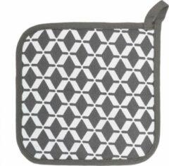 Tiseco Complete set - Pannenlappen, ovenwanten en een schort - Met patroon - Grijs - 2+2+1