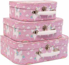 Roze Sass & Belle Set van 3 koffers rainbow unicorn / eenhoorn kofferset