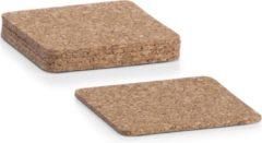 Bruine 6x Kurken glazenonderzetters vierkant 10 x 10 cm - Zeller - Keukenbenodigdheden - Tafeldecoratie - Glas/beker onderzetters van kurk