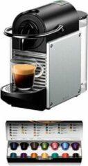 DeLonghi De'Longhi EN124.S Nespresso koffie capsule machine Pixie 1260 Watt zijwanden gemaakt van gerecyclede Nespresso-capsules, zilver. Coffee machine by De'Longhi