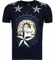 Blauwe Local Fanatic Holy Mary - Rhinestone T-shirt - Navy Holy Mary - Rhinestone T-shirt - Navy Heren T-shirt Maat 3XL