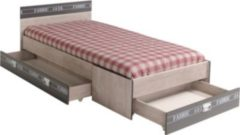 Bett 90 x 200 cm Esche/ grau mit Aufschrift Parisot Fabric