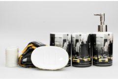 Badezimmer-Set 17-teilig HTI-Living Weiß, Schwarz