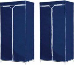 Merkloos / Sans marque Set van 2x stuks mobiele opvouwbare kledingkasten/garderobekasten 160 cm blauw - Camping/zolder