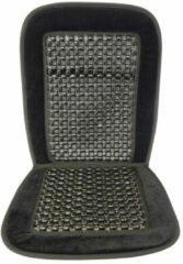 Zilveren Carpoint stoelkussen met houten kralen 90 x 45 cm zwart