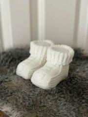 Creme witte Merkloos / Sans marque Babyslofjes gebreid crème kleur (maat 0 - 6 maanden)