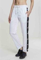 Urban Classics Dames jogging broek -M- Button Up Track Wit/Zwart