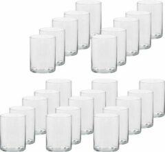 Transparante Trend Candles 25x Hoge theelichthouders/waxinelichthouders van glas 5,5 x 6,5 cm - Glazen kaarsenhouders - Woondecoraties