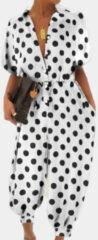 Newchic Polka Dot Print V-neck Drawstring Short Sleeve Plus Size Jumpsuit