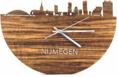 Bruine WoodWideCities Skyline Klok Nijmegen Palissander hout - Ø 40 cm - Woondecoratie - Wand decoratie woonkamer