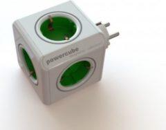 Allocacoc PowerCube Original Grün, Reiseadapter & 5x Steckdose und Verteiler, 230V Schuko