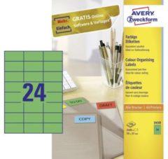 Avery-Zweckform 3450 Etiketten 70 x 37 mm Papier Groen 2400 stuk(s) Permanent Universele etiketten 100 vel DIN A4