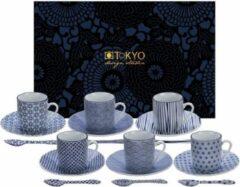 Blauwe Tokyo Design Studio Nippon Blue Espresso Serviesset - 6 personen - 18 stuks - Porselein