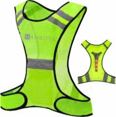 Gele MAHKOTA Verlichting - Hardloopvest – Reflectie LED vest - one size - Voor fietsen - Hardloop verlichting