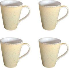 DeSfeerbrenger Mok - Beker - Set van 4 stuks mokken/bekers - Keramiek - 100% hand painted - Geel - 300 ml