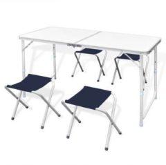 Witte VidaXL Campingtafel inklapbaar en verstelbaar in hoogte aluminium 120 x 60 cm incl. vier stoelen
