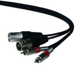 Ibiza Muziekkabel 2xTulp naar 2xXLR - 3m 2 x metalen TULP pluggen met veer naar 2 XLR pluggen, 3m