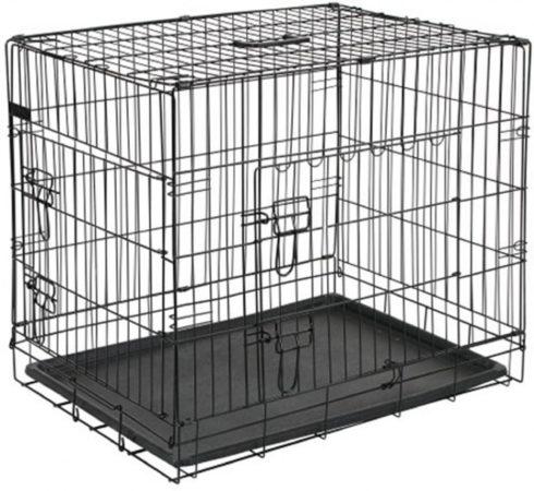 Afbeelding van Chewies Hondenbench 92,5x57,5x64 cm metaal zwart met bijpassend vetbed