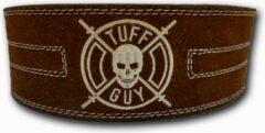 Bruine Tuff Guy Sports Brown Suede Lifting Belt, Gewichthefriem met dubbele gesp sluiting maat L, met 12mm dikte