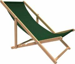 Strandstoel Holtaz - Inklapbaar - Hout - Comfortabele zonnebed - ligbed met verstelbare lighoogte - Groen
